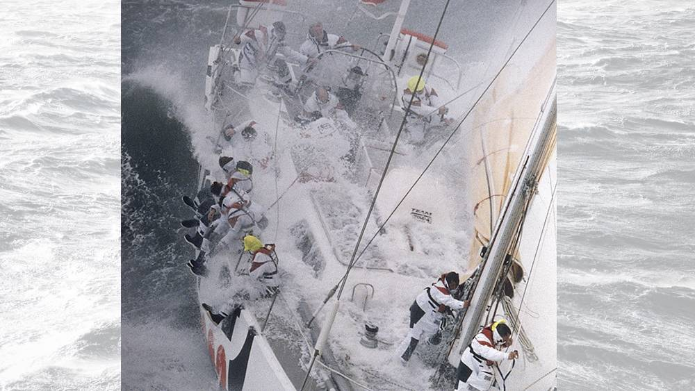 BT Global Challenge - this iconic shot that was taken as we left the Solent in brutal conditions!