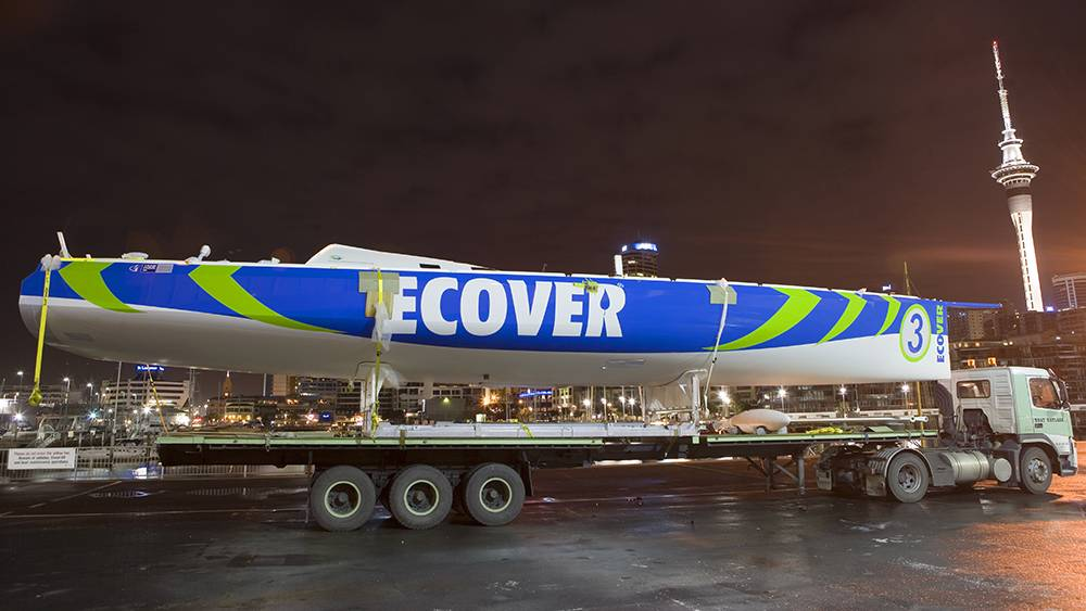 Ecover 3 - designed by Owen Clark and built at Hakes - she looked amazing with the Auckland skyline in the background!