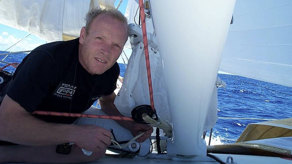 Vendee Globe - near the Falkland Islands, jury rigging one of TG4's textile shrouds that very nearly chaffed through!